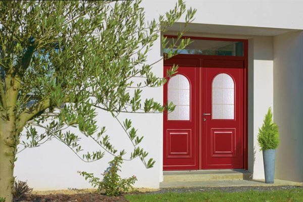Porte d'entrée bois vitrée Maison du Menuisier